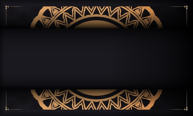빈티지 장식품과 로고를 위한 장소가 있는 검은색 엽서. 추상 장식으로 인쇄 가능한 디자인 배경 템플릿입니다.