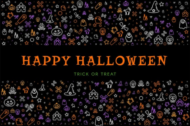 Black poster background with doodles for halloween party invitation or decoration. web banner for halloween holiday celebration. cartoon vector illustration