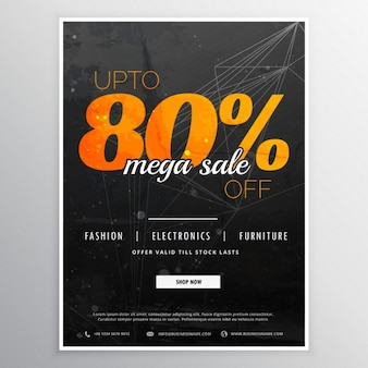 Black poster with orange letters for discounts