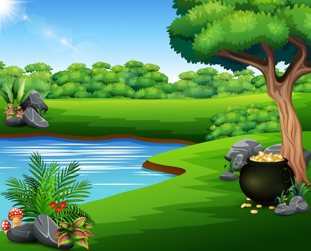 湖畔にコインの黒い鍋