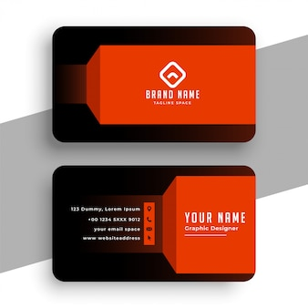 Black and prange geometric business card template design
