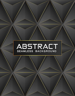 Black premium background with luxury dark polygonal seamless pattern