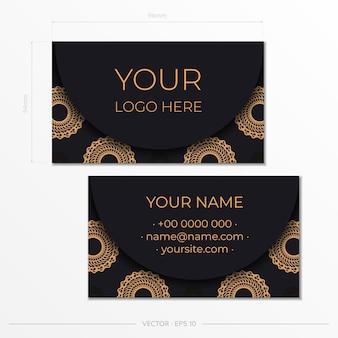 블랙 프레젠테이션 명함입니다. 장식용 명함 장식품, 동양 패턴, 삽화.