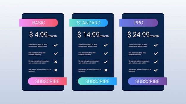 Black pricing table template