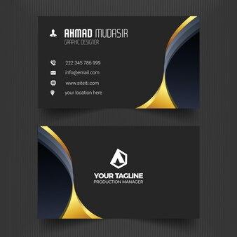 Черный профессиональный шаблон визитной карточки