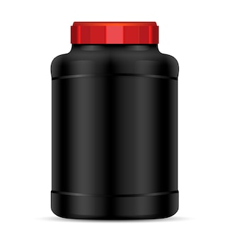 Black protein powder container with red lid