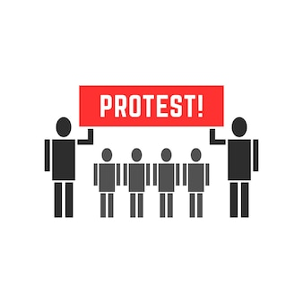 Символ людей черные протестующие. концепция протестующего, анархии, победы, солидарности, борьбы, восстания, союза, фигурки, парада. плоский стиль современный дизайн логотипа векторные иллюстрации на белом фоне
