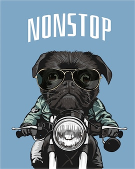 Black pug in sunglasses riding motorcycle illustration