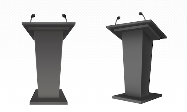 Black pulpit, podium or tribune, rostrum stand