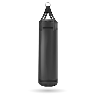 Black punching bag.  illustration