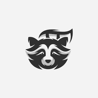テンプレートの黒いアライグマのロゴのデザイン
