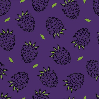 Black raspberry and leaves seamless pattern. vector background.