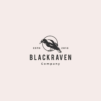 Black raven crow logo hipster