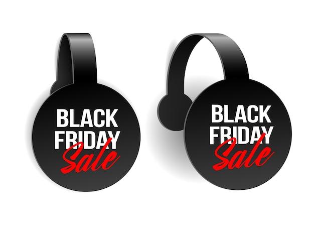 ブラックフライデーのスーパーセールのための黒の現実的な広告ウォブラー