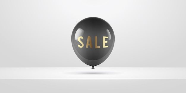 Black realistic balloon. posters or flyers design.  illustration