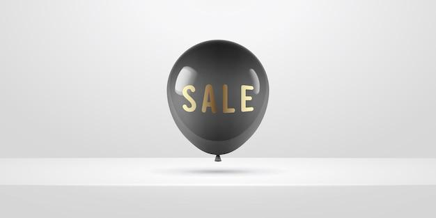 Черный реалистичный воздушный шар. дизайн плакатов или листовок. иллюстрация