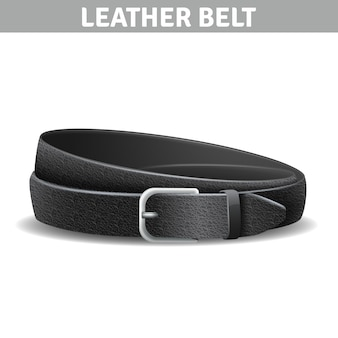 Black realistic curled leather belt with metal buckle