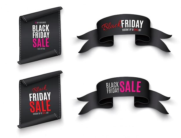 Черный реалистичный изогнутый бумажный баннер. лента. черная пятница распродажа. иллюстрации.