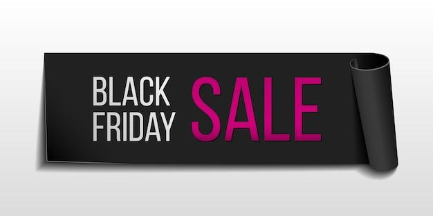 Black realistic curved paper banner ribbon for black friday super sale