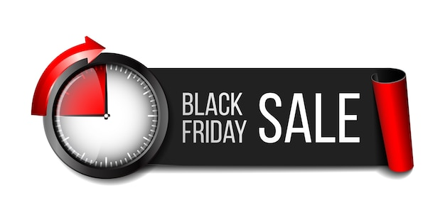Black realistic curved paper banner ribbon with timer for black friday super sale