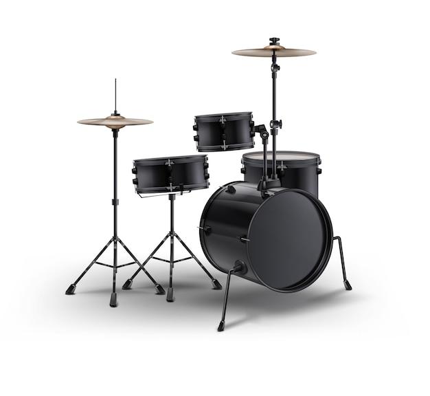 白い背景で隔離の黒のリアルなドラム