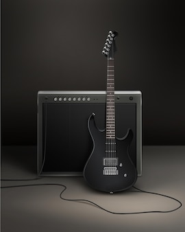 Black realistic   electric guiltar connected to dynamic in studio