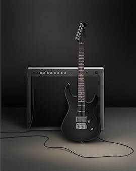 Черный реалистичный электрический гильтар, подключенный к динамике в студии