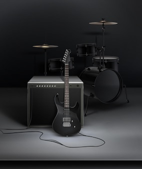 Черный реалистичный электрический гильтар, соединенный с динамикой с барабанами в студии