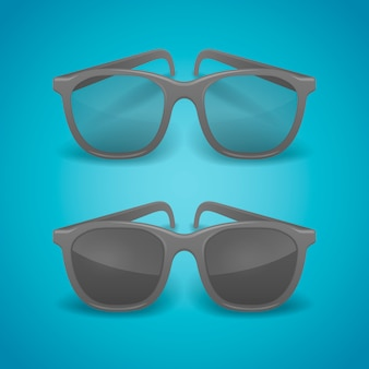 Black realistic glasses and sunglasses.