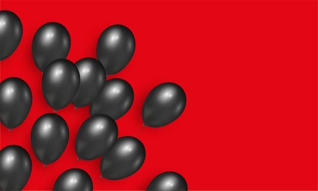 ブラックフライデーセールバナー用の黒のリアルな光沢のある風船