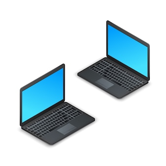 Black realistic isometric laptop, blank screen isolated on white background. 3d computer laptop