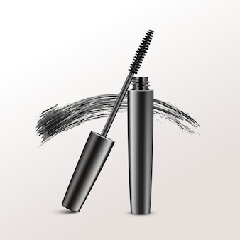 Black realistic mascara brush strokes isolated