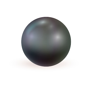 Black realistic pearl isolated
