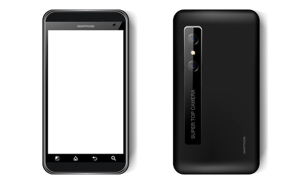 Black realistic smartphone, front and back view, mobile phone mockup with blank screen for your design