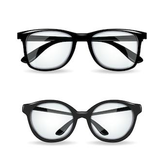 Black realitic glasses on white