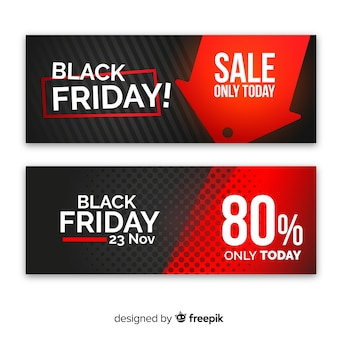 Black and red abstract cyber monday sale banner set