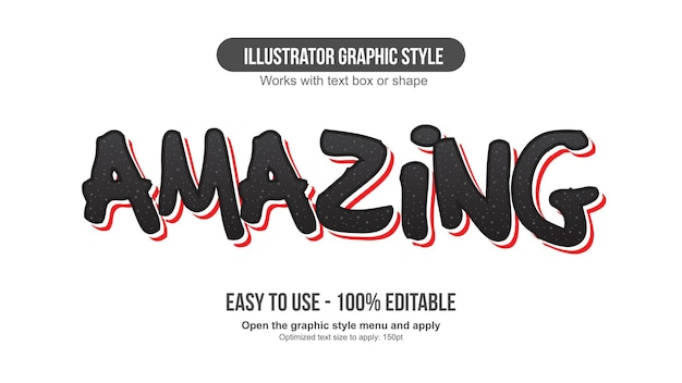 Black and red bold brush cartoon editable text effect