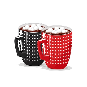 격리 된 흰색 배경에 검정, 빨강 컵. 커피, 코코아, 카푸치노. 좋은 아침. 크리스마스.