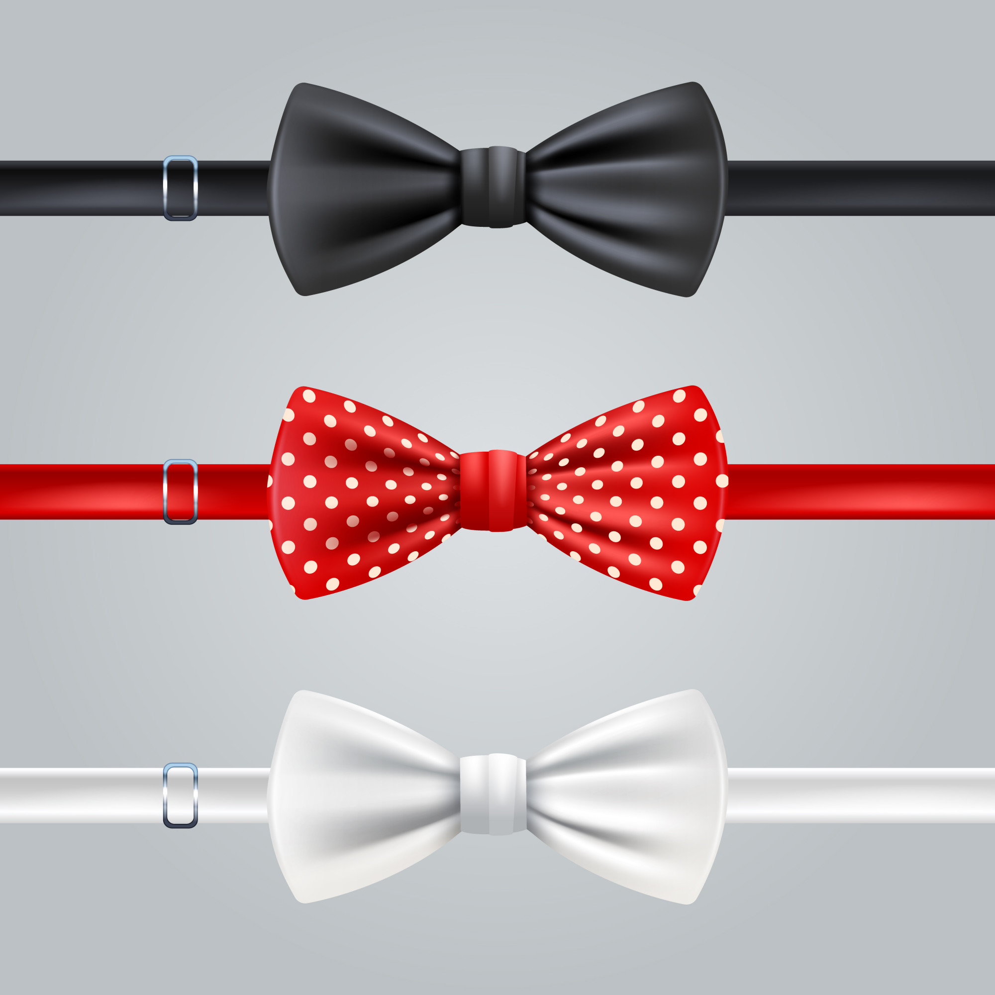 Black red dotted and white bow ties realistic set