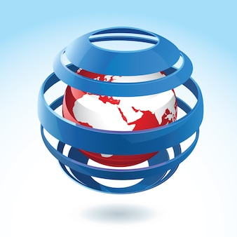 Black and red earth globe with blue ribbon around