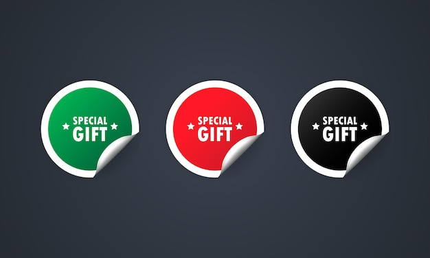 Black, red and green round circle tags