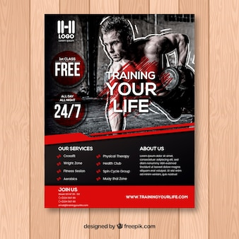Black and red gym flyer template