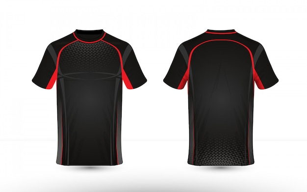 Black and red layout e-sport t-shirt design template