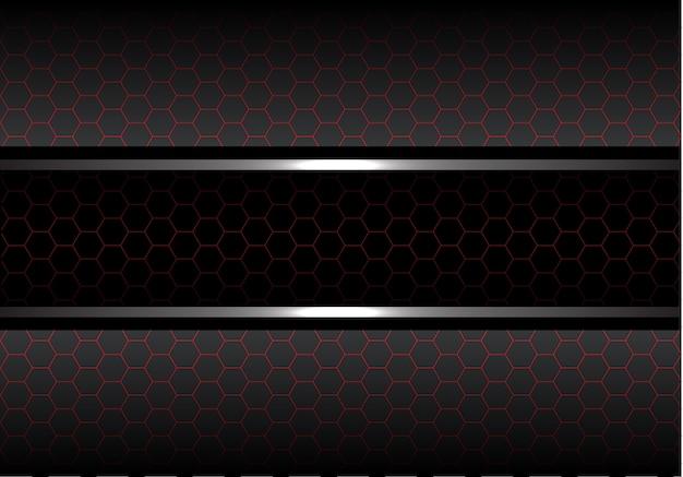 Черная красная линия шестиугольник сетка серый металлический фон.