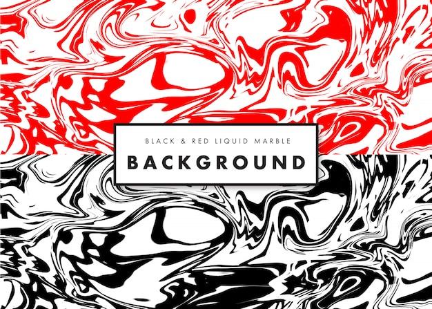 Black & red liquid marble texture background