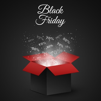 Black and red magic box for sale on a black friday.