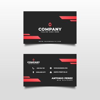 Black and red modern business card template