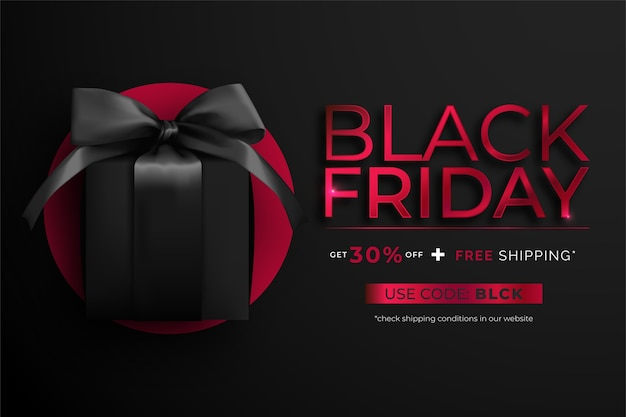 Black and red realistic black friday banner