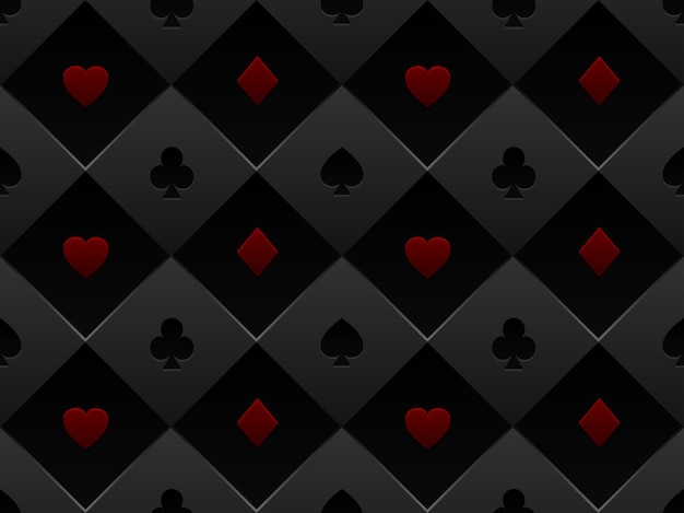 Black and red seamless pattern fabric poker table. minimalistic casino  background with texture composed from volume card