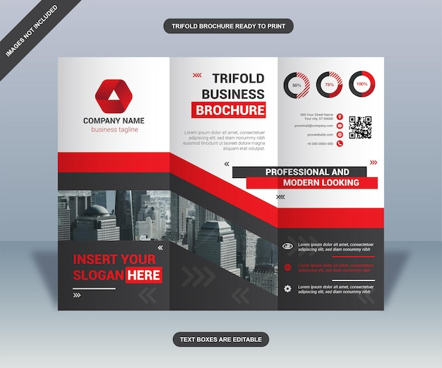 Black and red trifold business brochure